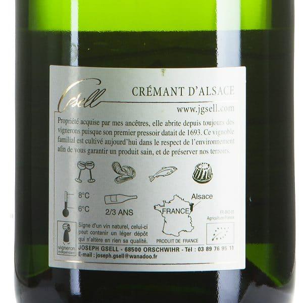 Cremant d'Alsace Blanc Chardonnay Biologico etichetta retro