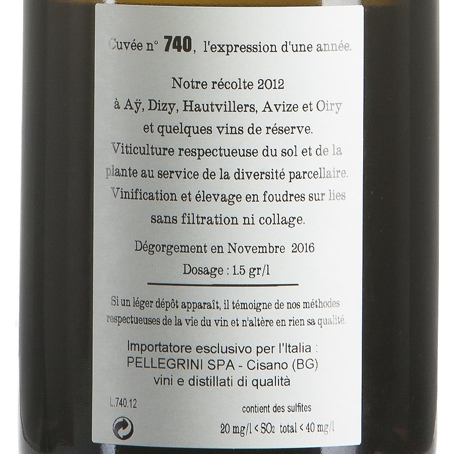Champagne Jacquesson 740 Extra Brut etichetta retro