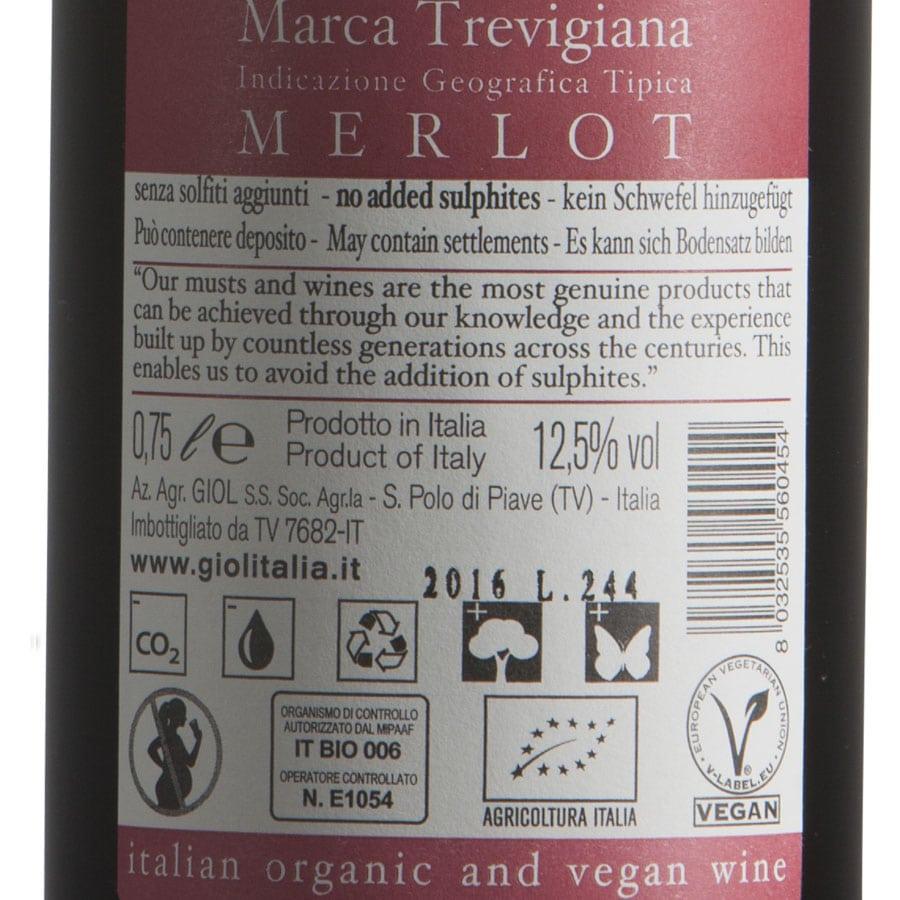 Merlot biologico vegano etichetta retro