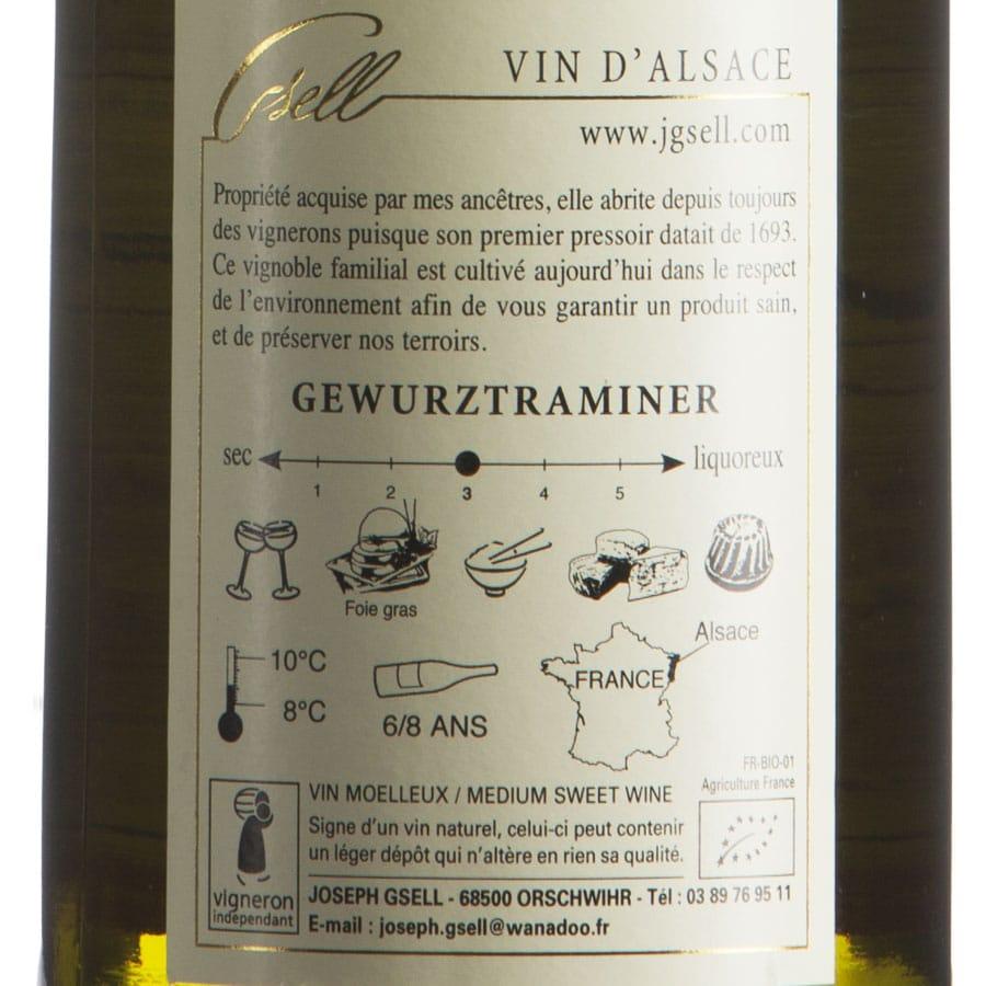 Gewurztraminer d'Alsace AOP Biologico millesimato 2015 etichetta retro