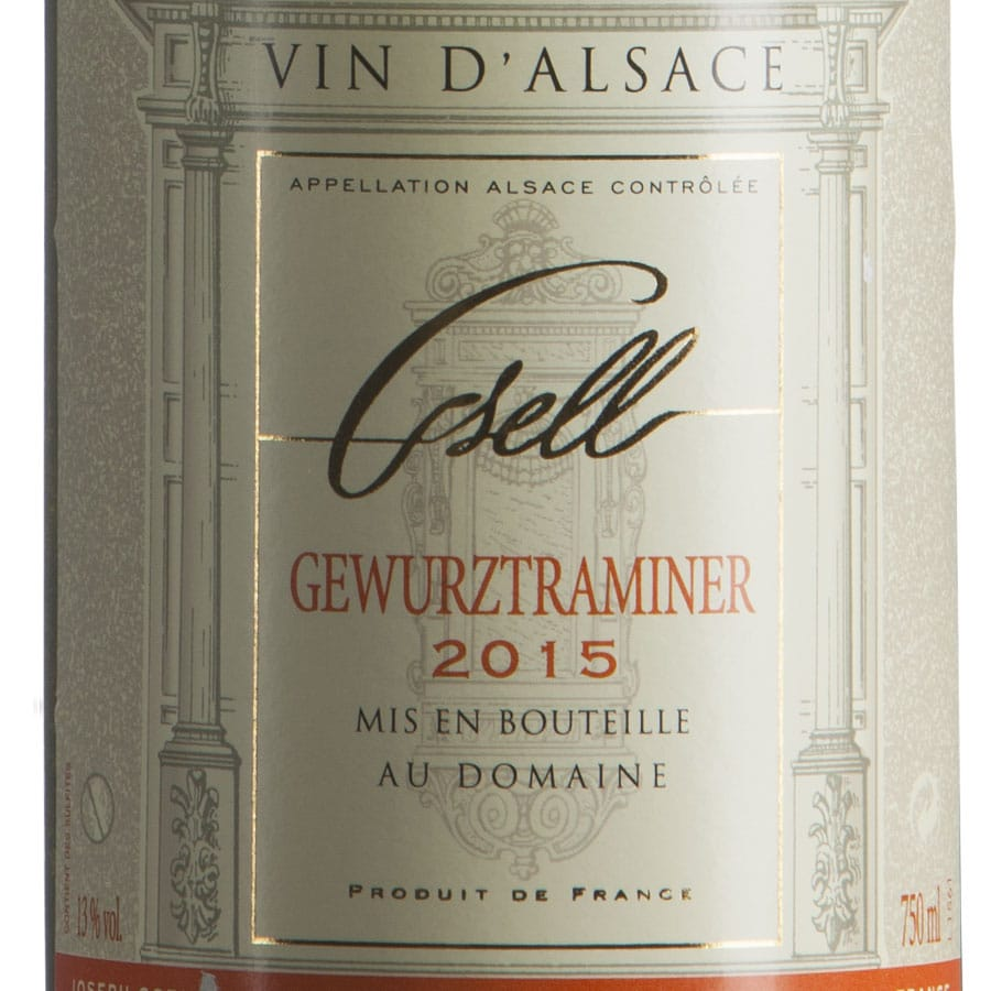Gewurztraminer d'Alsace AOP Biologico millesimato 2015 etichetta