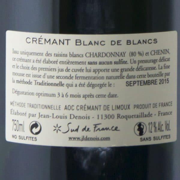 Crémant Blanc de Blancs senza solfiti etichetta retro