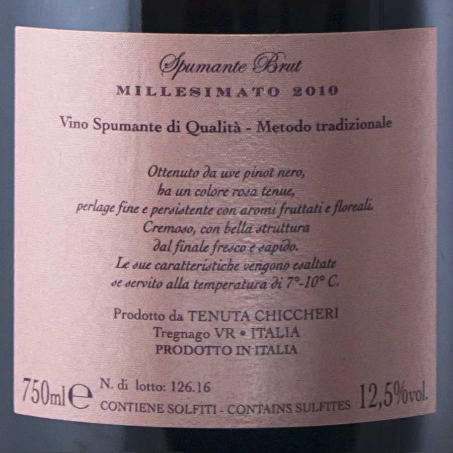 Spumante Brut Rosè Montprè Pinot nero millesimato 2010 etichetta retro