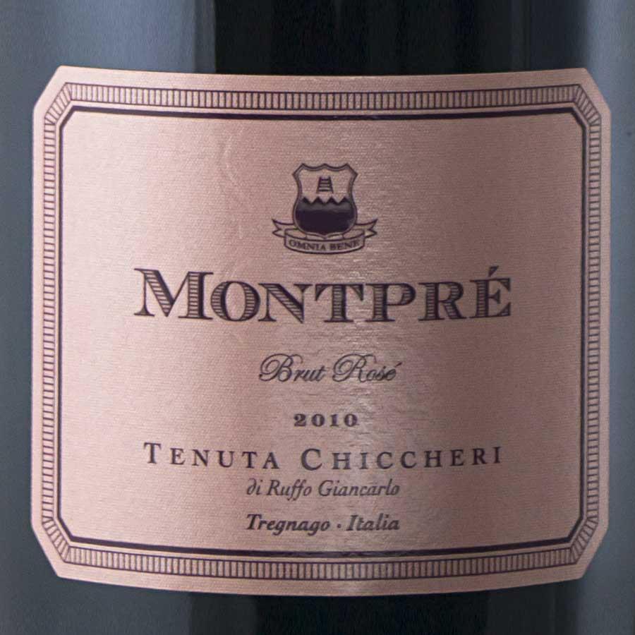 Spumante Brut Rosè Montprè Pinot nero millesimato 2010 etichetta