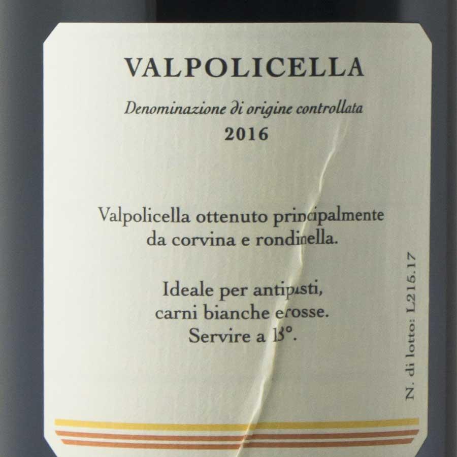 Valpolicella millesimato 2016 etichetta retro